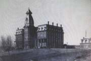 Old black and white photo of original school building