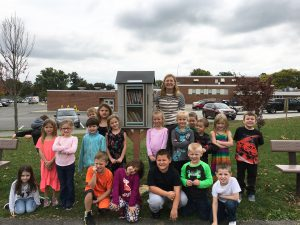 Gallup and her class with the new Little Free Library.