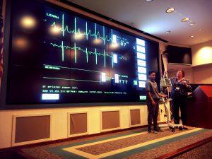 Ezekiel Brown learns how an EKG monitor works