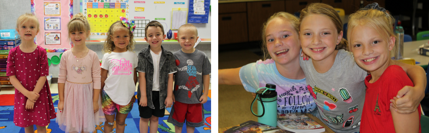 two-photo collage including group of smiling kindergarten students and three middle school students