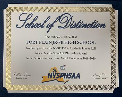 NYSPHSAA School of Distinction Certificate