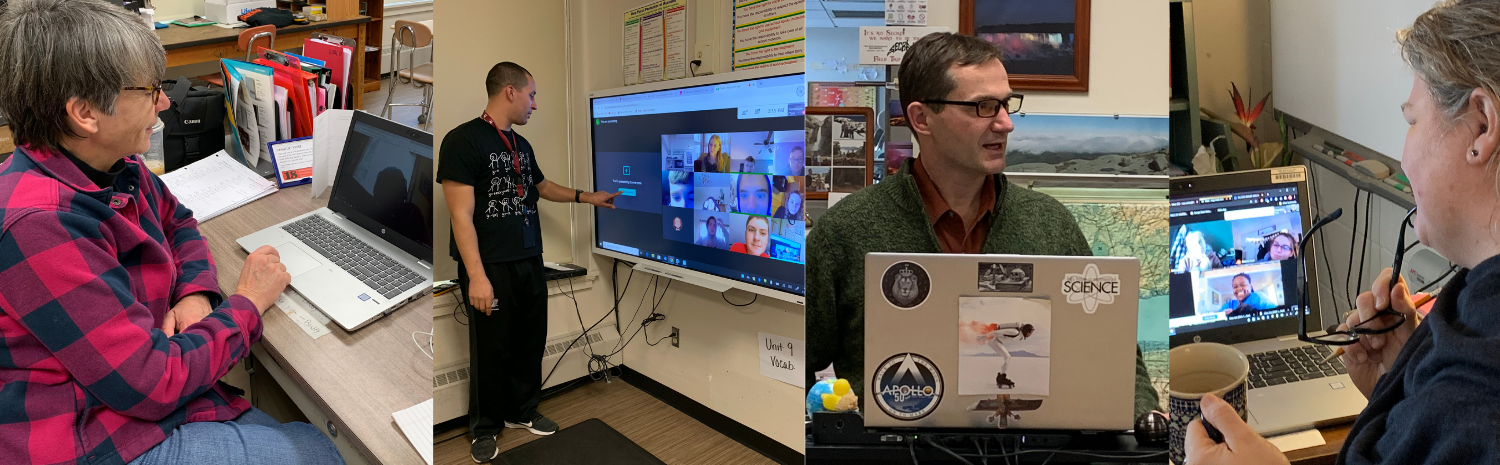 Linda Cole, Lance Elliott, Lucas Santiago and Cory Cooley in their classrooms teaching remote students