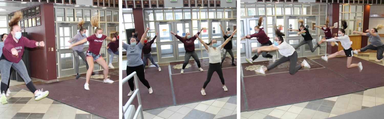 cheerleading practice at the high school