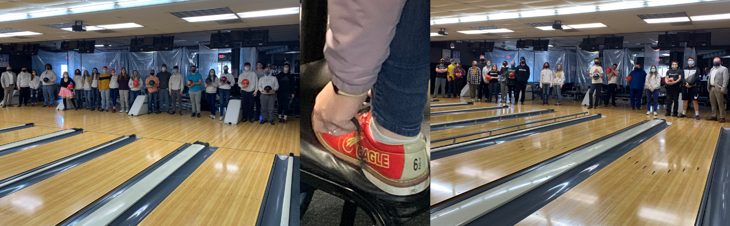 2 groups of students and teachers in bowling alley, picture of bowling shoe being put on
