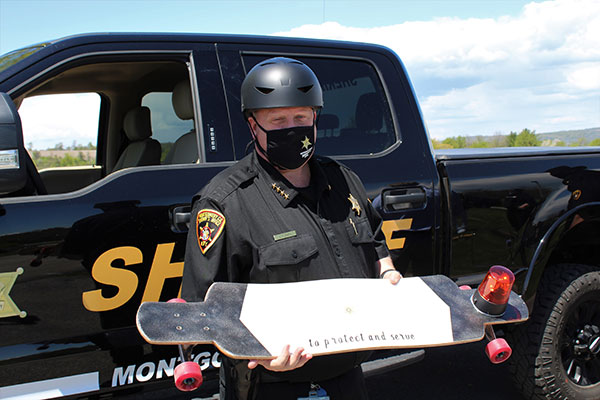 Sheriff Smith with his custom board