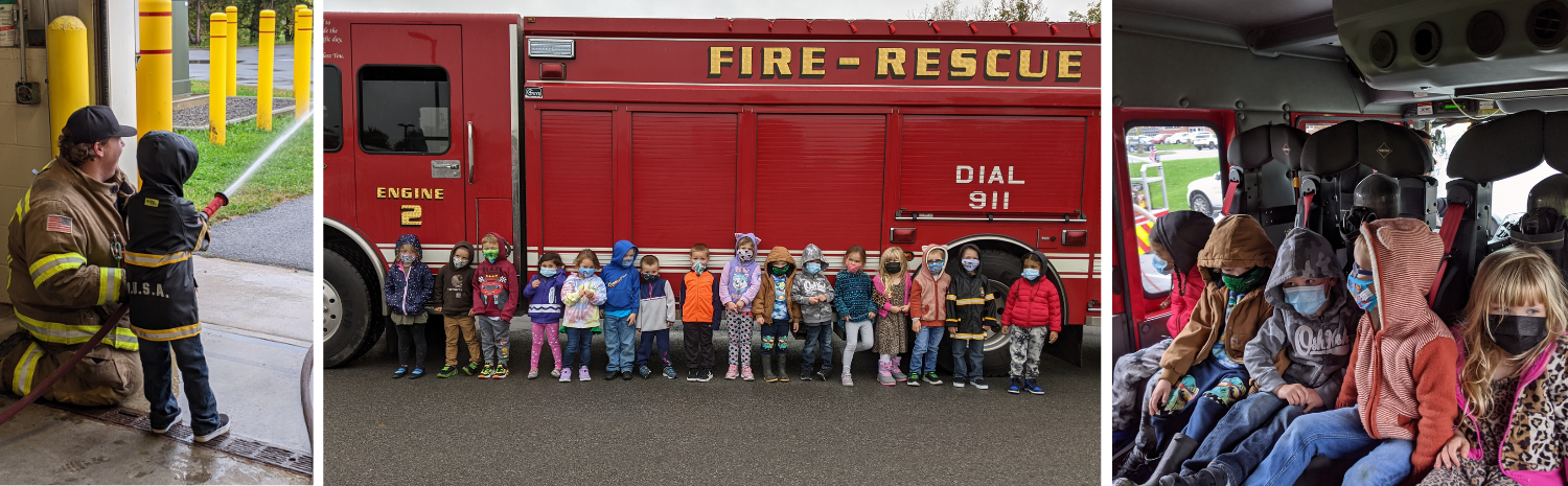 Harry Hoag students with local firefighters, holding a hose, standing by truck, sitting in truck
