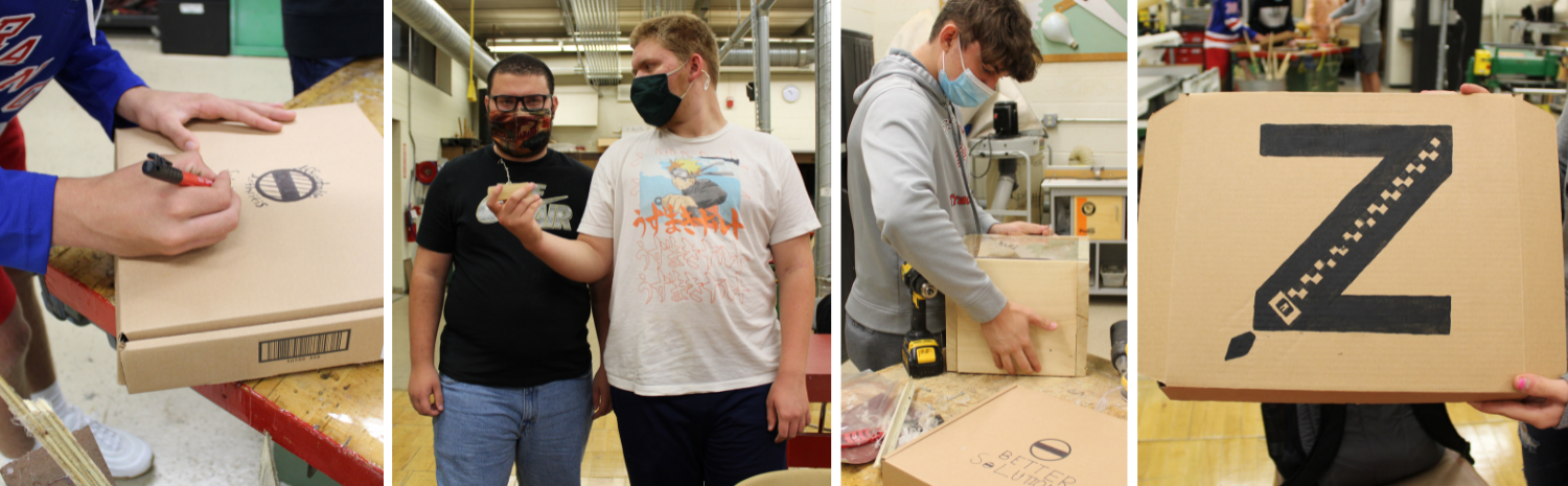 students working on zipper pulls and packaging